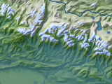 Landbedeckungs-Karte in Mercator-Projektion im Himalaya
