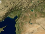 Shaded satellite image view of the Middle East