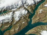Shaded satellite image view of Ellesmere island
