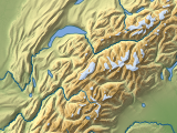 Relief map in mercator projection of the Alps