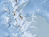 Antarctic map of the Antarctic peninsula with relief layer