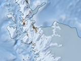 Antarktis-Karte von der antarktischen Halbinsel mit Reliefdarstellung