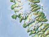 Arktis-Karte in Nowaja Semlja mit Reliefdarstellung
