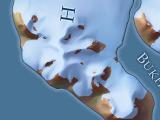 Südlicher Ausschnitt aus der Karte von Franz-Josef-Land im dunklen Kartenstil