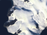 Satellite image view of central Franz Josef Land
