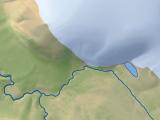 Die Oktoberrevolutionsinsel in der Karte von Sewernaja Semlja im hellen Kartenstil