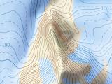 Das Matusevich Schelfeis in der Karte von Sewernaja Semlja im dunklen Kartenstil